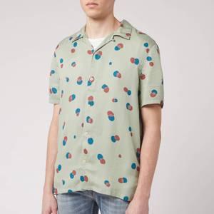 Nudie Jeans Men's Arvid Random Dots Short Sleeve Shirt - Pale Green