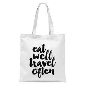 The Motivated Type Eat Well Travel Often Tote Bag - White