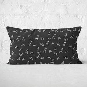Black Willy Print Rectangular Cushion