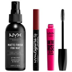 NYX Professional Makeup Vegan Bestsellers- Mascara, Setting Spray and Lipstick Set - Exclusive