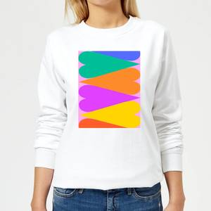Large Rainbow Hearts Women's Sweatshirt - White