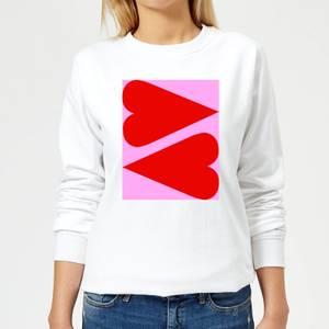 Giant Red Hearts Women's Sweatshirt - White