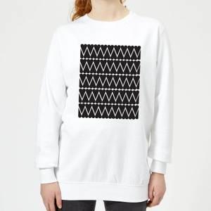 Black Love Heart Pattern Women's Sweatshirt - White