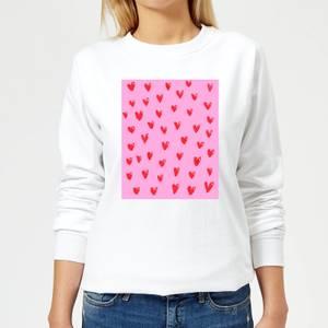 Hand Drawn Red Heart Pattern Women's Sweatshirt - White
