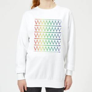White Hearts On Rainbow Background Women's Sweatshirt - White