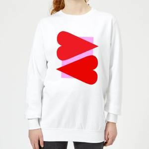 Red Hearts Women's Sweatshirt - White