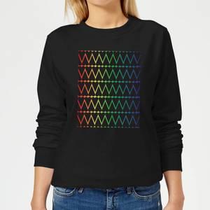 Mini Heart Print On Rainbow Women's Sweatshirt - Black