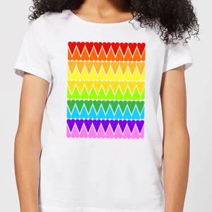 Rainbow Heart Upside Down Women's T-Shirt - White