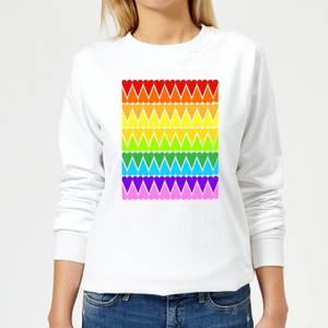 Rainbow Heart Upside Down Women's Sweatshirt - White