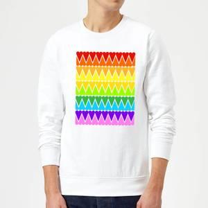 Rainbow Heart Upside Down Sweatshirt - White