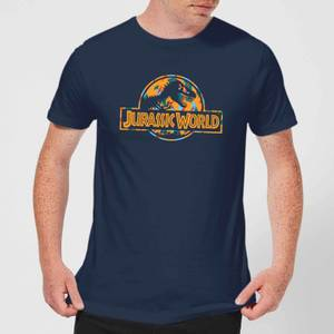 Jurassic Park Logo Tropical Men's T-Shirt - Navy