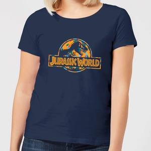 Jurassic Park Logo Tropical Women's T-Shirt - Navy