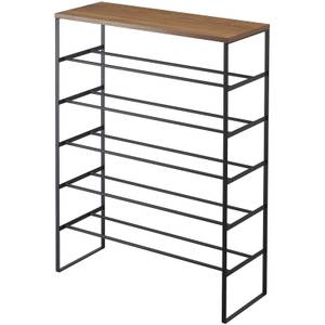 Yamazaki Tower 6 Tier Shoe Rack with Shelf - Black