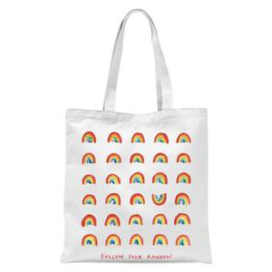 Poet and Painter Follow Your Rainbow Tote Bag - White