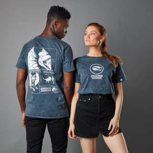 T-shirt Jurassic Park Primal Dilophosaurus Acid Wash - Bleu Marine - Unisexe