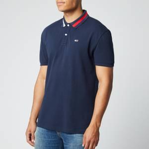 Tommy Jeans Men's Flag Neck Polo Shirt - Twilight Navy