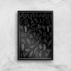 Dark Monochrom Florals Giclée Art Print