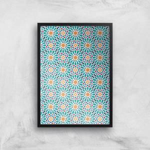 Geometric Flower Tiles Giclée Art Print