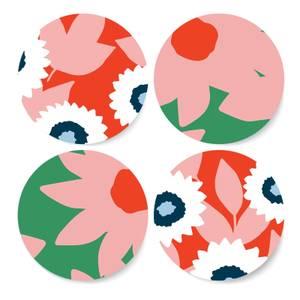 Contrast Tone Florals Coaster Set