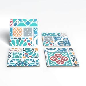 Colourful Moroccan Tiles Coaster Set