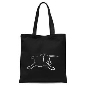 Playful Dog Tote Bag - Black