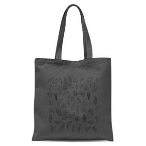 Monochrome Flowers Tote Bag - Grey