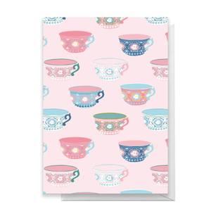 Tea Cup Pattern Greetings Card