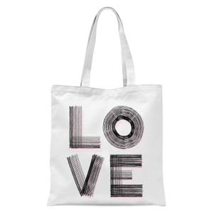 Hatched Love Tote Bag - White