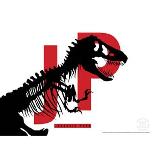 Jurassic Park Original Logo Screenprint with Letterpress by Chip Kidd - White