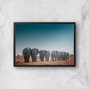 A Herd Of Elephants Giclee Art Print