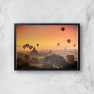 Hot Air Balloon Sunset Giclee Art Print