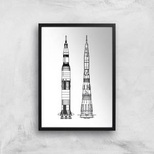 Rockets Side Profile Giclee Art Print