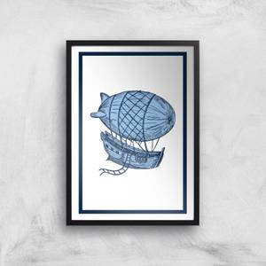 Blue Hot Air Balloon Giclee Art Print