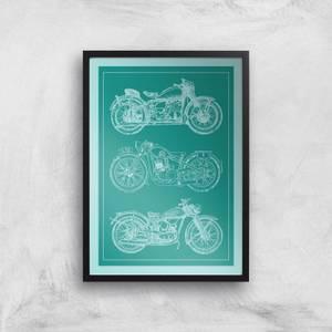 Motorbike Diagram Giclee Art Print