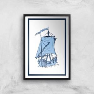 Blue Ship Giclee Art Print