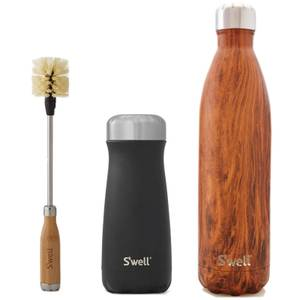 S'well Rustic Combination Bottle and Brush Set (Worth £100)