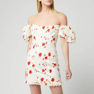 De La Vali Women's Koko Dress Printed Dress - White Rose Print