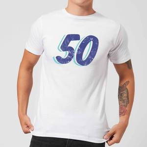 50 Distressed Men's T-Shirt - White