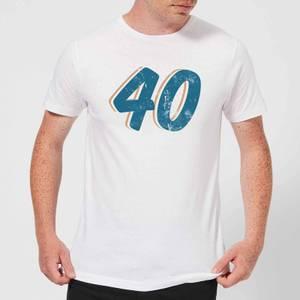 40 Distressed Men's T-Shirt - White