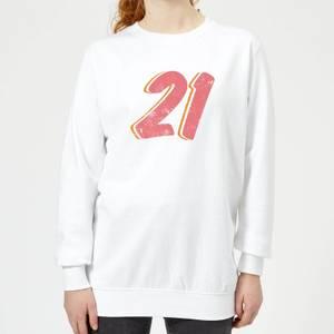 21 Distressed Women's Sweatshirt - White