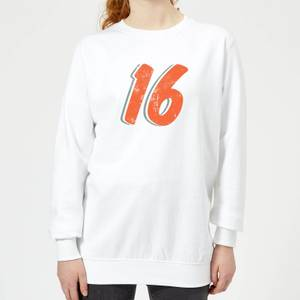 16 Distressed Women's Sweatshirt - White