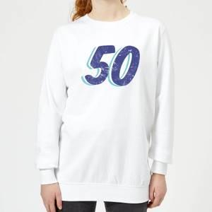 50 Distressed Women's Sweatshirt - White