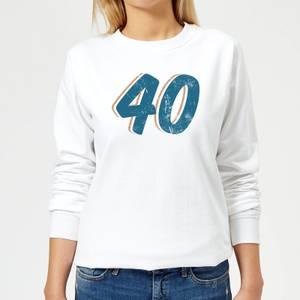 40 Distressed Women's Sweatshirt - White