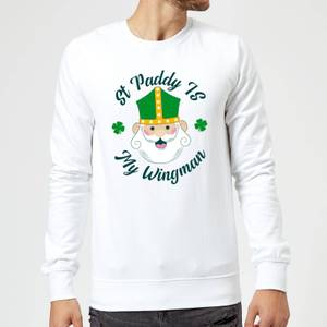 St Paddy Is My Wingman Sweatshirt - White