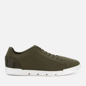 SWIMS Men's Breeze Tennis Knit Trainers - Olive/White