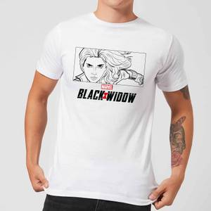 T-Shirt Black Widow Line Drawing - Bianco - Uomo