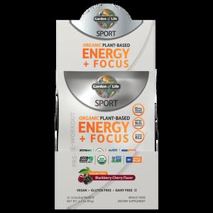 Sport Organic Plant-Based Energy Plus Focus - Sugar Free Blackberry Cherry - 12 Sachets