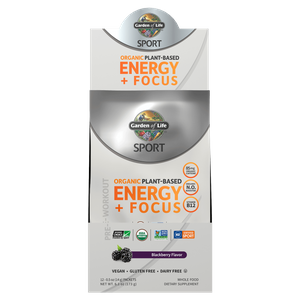 Sport Organic Plant-Based Energy Plus Focus - Blackberry - 12 Sachets