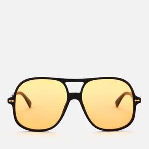 Gucci Men's Oversized Aviator Sunglasses - Black/Yellow