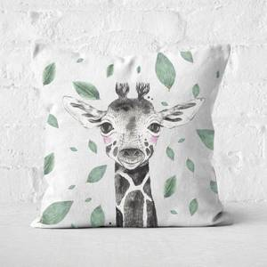Giraffe And Leaves Square Cushion